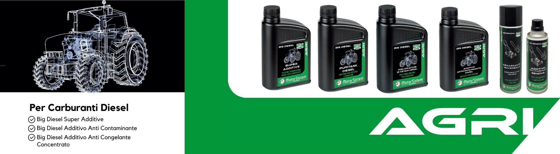 AGRI | Linea di additivi per motori diesel di macchine movimento terra